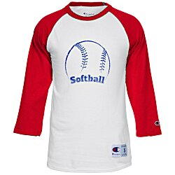 View a larger, more detailed picture of the Champion Tagless Raglan Baseball Tee - Screen