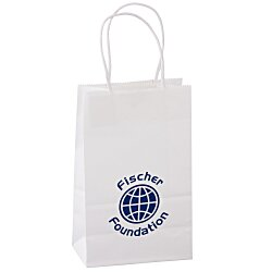 View a larger, more detailed picture of the Kraft Paper White Shopping Bag 8-1 4 x 5-1 4