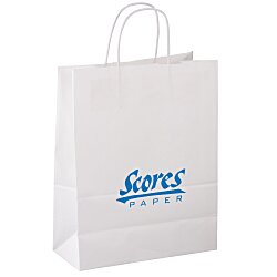 View a larger, more detailed picture of the Kraft Paper White Shopping Bag 13 x 10 