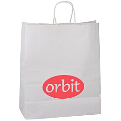 View a larger, more detailed picture of the Kraft Paper White Shopping Bag 15-3 4 x 13
