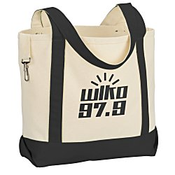 View a larger, more detailed picture of the Two-Tone Accent Gusseted Tote Bag - 24 hr