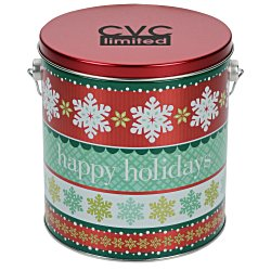 View a larger, more detailed picture of the Chocolate Mini Pretzel Tin - Design - 1 Gallon