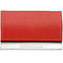 View a larger, more detailed picture of the Leather and Metal Business Card Holder