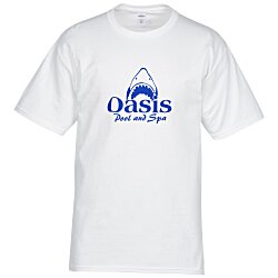 View a larger, more detailed picture of the Hanes Tagless 6 1 oz T-Shirt - Screen - White - 24 hr
