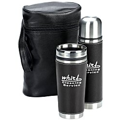 View a larger, more detailed picture of the Leatherette Tumbler Vacuum Bottle Set - Screen