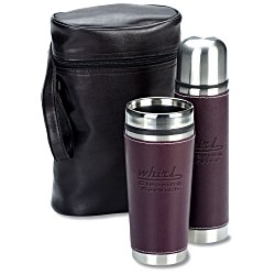 View a larger, more detailed picture of the Leatherette Tumbler Vacuum Bottle Set - Debossed