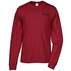 View a larger, more detailed picture of the Hanes Tagless 6 1 oz LS Pocket T-Shirt - Screen - Colors