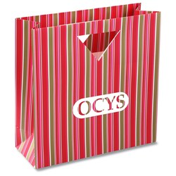 View a larger, more detailed picture of the Triangle Handle Gift Bag - Fuchsia Stripe
