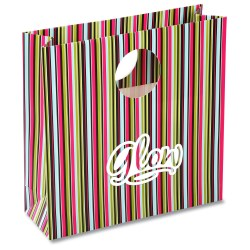 View a larger, more detailed picture of the Round Handle Gift Bag - Green Stripe