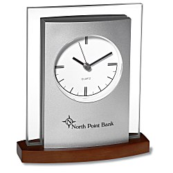 View a larger, more detailed picture of the Desktop Analog Clock - Wood Base