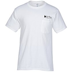View a larger, more detailed picture of the Hanes Tagless 6 1 oz Pocket T-Shirt - Screen - White