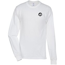 View a larger, more detailed picture of the Hanes Tagless LS T-Shirt - Screen - White