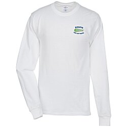View a larger, more detailed picture of the Hanes Tagless 6 1 oz LS T-Shirt - Embroidered - White