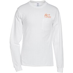 View a larger, more detailed picture of the Hanes Tagless 6 1 oz LS Pocket T-Shirt - Screen - White