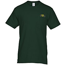 View a larger, more detailed picture of the Hanes Tagless 6 1 oz Pocket T-Shirt - Embroidered - Colors