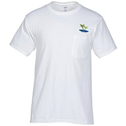 View a larger, more detailed picture of the Hanes Tagless 6 1 oz Pocket T-Shirt - Embroidered - White