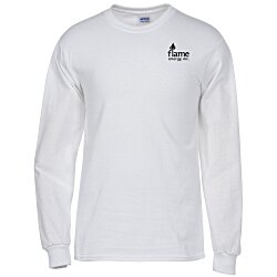 View a larger, more detailed picture of the Gildan 6 1 oz Ultra Cotton LS T-Shirt - Men s - White