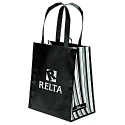 View a larger, more detailed picture of the Laminated PET Tote w Striped Gusset