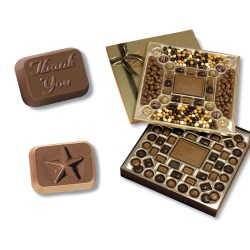 View a larger, more detailed picture of the 2-Tier Chocolate Treat Box - Thank You & Star