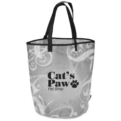 View a larger, more detailed picture of the Laminated Polypropylene Basket Tote - Swirl