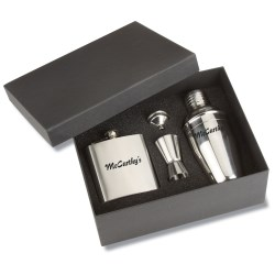 View a larger, more detailed picture of the Bar Time Shaker and Flask Gift Set