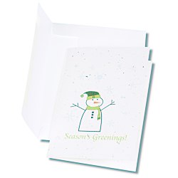 View a larger, more detailed picture of the Seeded Holiday Card - Season s Greenings Snowman