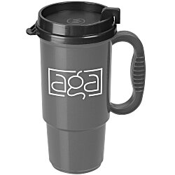 View a larger, more detailed picture of the Insulated Auto Mug - 16 oz - Metallic - Black Lid