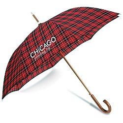 View a larger, more detailed picture of the totes Automatic Stick Umbrella - Plaid