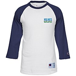 View a larger, more detailed picture of the Champion Tagless Raglan Baseball Tee - Embroidered