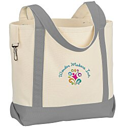 View a larger, more detailed picture of the Two-Tone Accent Gusseted Tote - Embroidered