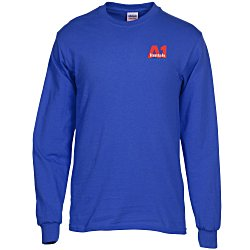 View a larger, more detailed picture of the Gildan 5 3 oz Cotton LS T-Shirt - Embroidered - Colors
