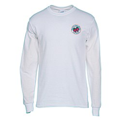 View a larger, more detailed picture of the Gildan 5 3 oz Cotton LS T-Shirt - Embroidered - White