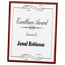 View a larger, more detailed picture of the Rosewood Finished Plaque w Aluminum Plate - 10