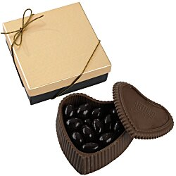 View a larger, more detailed picture of the Chocolate Heart Box w Confection - Gold Box