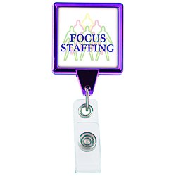 View a larger, more detailed picture of the Retractable Badge Holder - Square - Chrome Finish