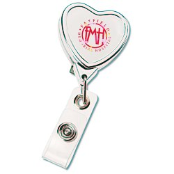 View a larger, more detailed picture of the Retractable Badge Holder - Heart - Chrome Finish