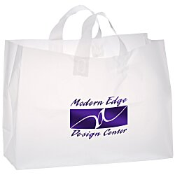 View a larger, more detailed picture of the Soft-Loop Frosted Clear Shopper - 12 x 16 - Foil