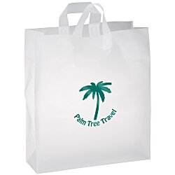View a larger, more detailed picture of the Soft-Loop Frosted Clear Shopper - 19 x 16 - Foil