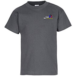 View a larger, more detailed picture of the Hanes Tagless T-Shirt - Youth - Embroidered - Colors