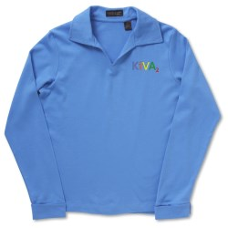 View a larger, more detailed picture of the Egyptian Interlock Long-Sleeve Polo - Ladies 