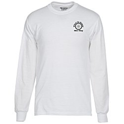 View a larger, more detailed picture of the Gildan 5 6 oz DryBlend 50 50 LS T-Shirt - White