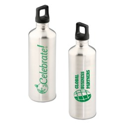 View a larger, more detailed picture of the h2go Stainless Bottle - 24 oz - Celebrate - Silver
