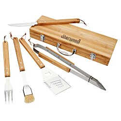 View a larger, more detailed picture of the 5-Piece Bamboo BBQ Set