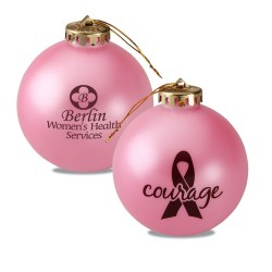 View a larger, more detailed picture of the Breast Cancer Awareness Ornament - Ribbon w Courage