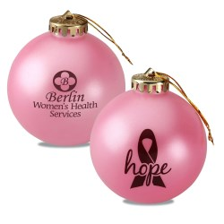 View a larger, more detailed picture of the Breast Cancer Awareness Ornament - Ribbon w Hope