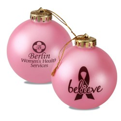 View a larger, more detailed picture of the Breast Cancer Awareness Ornament - Ribbon w Believe