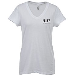 View a larger, more detailed picture of the Bella V-Neck Jersey T-Shirt - Ladies - White - Screen
