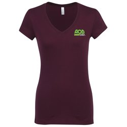 View a larger, more detailed picture of the Bella V-Neck Jersey T-Shirt - Ladies - Colors - Embroidered