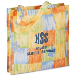 View a larger, more detailed picture of the Polypropylene Patterned Gusseted Tote - Closeout