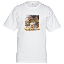 View a larger, more detailed picture of the Hanes Tagless T-Shirt - Full Color - White - 24 hr